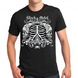 T-shirt homme Bikers Black Metal Squelette