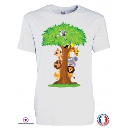 T-shirt Enfant motif Arbre Animaux de la jungle